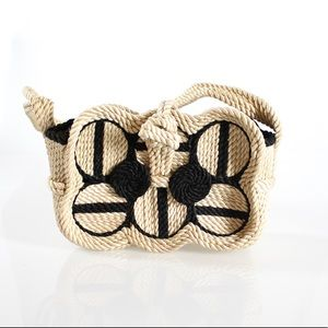 Black and White Geometric Woven Bag